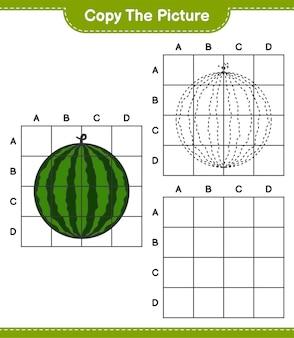 Kopieer de afbeelding, kopieer de afbeelding van watermeloen met behulp van rasterlijnen. educatief kinderspel, afdrukbaar werkblad