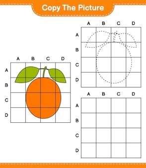 Kopieer de afbeelding, kopieer de afbeelding van ximenia met behulp van rasterlijnen. educatief kinderspel, afdrukbaar werkblad