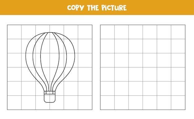 Kopieer de afbeelding van een cartoon luchtballon. educatief spel voor kinderen. handschrift oefenen.