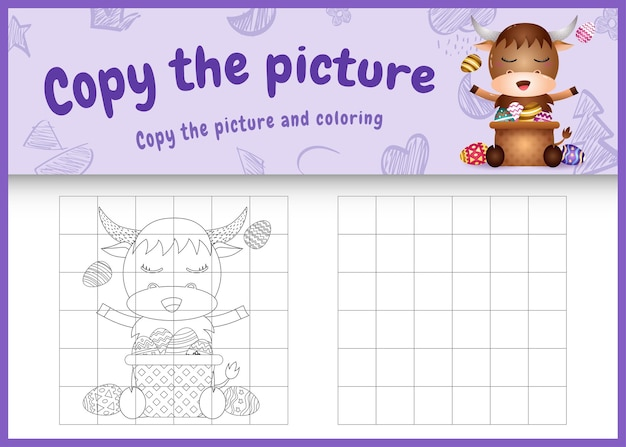 Kopieer de afbeelding van het kinderspel en de kleurplaat met pasen als thema met een schattige buffel en een emmer-ei