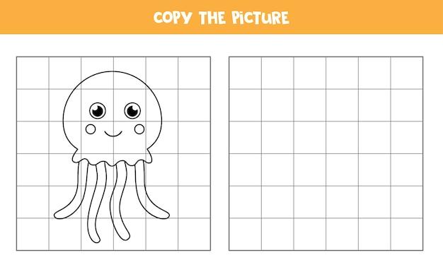 Kopieer de afbeelding van schattige kwallen. educatief spel voor kinderen. handschrift oefenen.