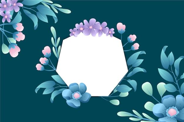 Kopieer de ruimte lege badge met winterbloemen