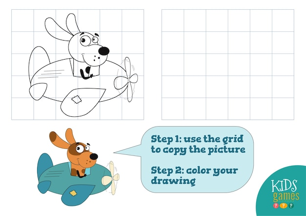 Kopieer en kleur de oefening van de afbeelding. grappige hond stripfiguur voor tekenen en kleuren spel voor kleuters