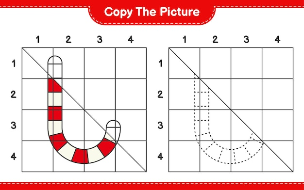 Kopieer het educatieve werkbladspel van candy canes met behulp van rasterlijnen