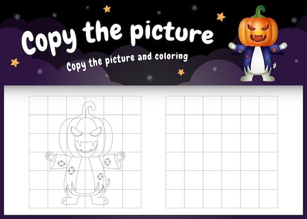 Kopieer het foto-kinderspel en de kleurpagina met een schattig konijn met halloween-kostuum