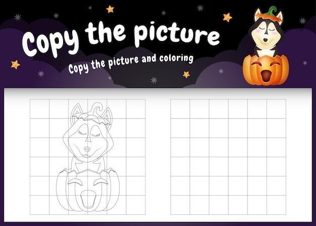 Kopieer het foto-kinderspel en de kleurpagina met een schattige husky-hond met halloween-kostuum