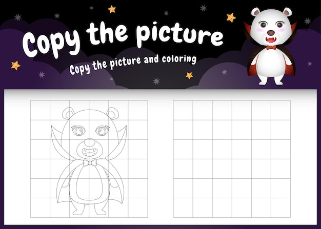 Kopieer het foto-kinderspel en de kleurpagina met een schattige ijsbeer met halloween-kostuum