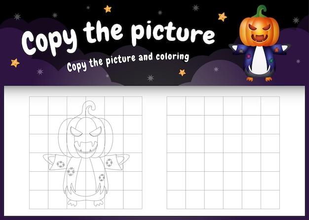 Kopieer het foto-kinderspel en de kleurpagina met een schattige pinguïn met een halloween-kostuum