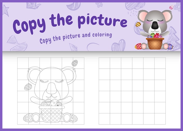 Kopieer het kinderspel en de kleurplaat met pasen als thema met een schattige koala en een emmer-ei