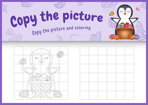 Kopieer het kinderspel en de kleurplaat met pasen als thema met een schattige pinguïn en een emmer-ei