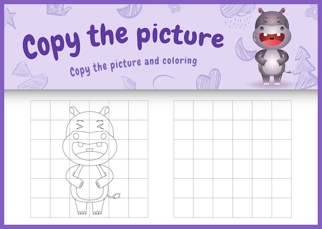 Kopieer het plaatje kinderspel en kleurplaat met een schattig nijlpaard