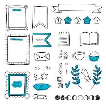 Kopieer ruimte blauwe bullet journal-sjabloon