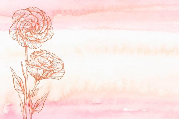 Kopieer ruimte bloem poeder pastel hand getekende achtergrond