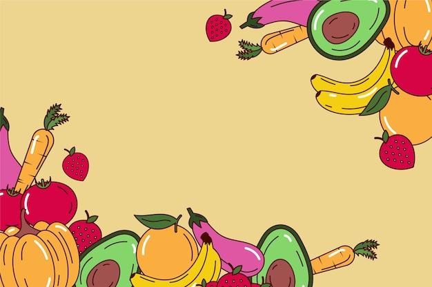 Kopieer ruimte fruit en vegetarische achtergrond