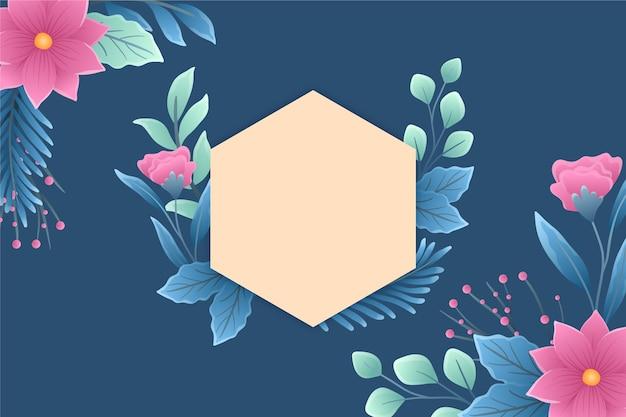 Kopieer ruimte lege badge met bloemen en bladeren