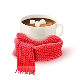 Kopje chocolade met gebreide sjaal