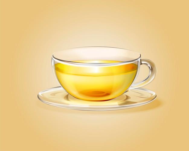 Kopje groene thee in glazen beker, 3d illustratie