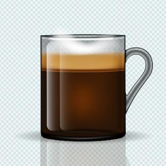 Kopje hete latte in een glazen mok