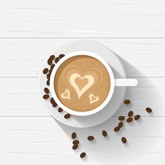 Kopje koffie bovenaanzicht