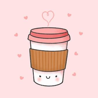 Kopje koffie cartoon hand getrokken stijl