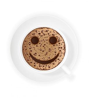 Kopje koffie crema en smiley symbool