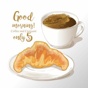 Kopje koffie en croissant vectorillustratie