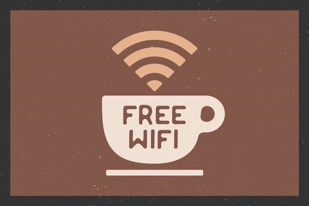 Kopje koffie en tekst gratis wifi