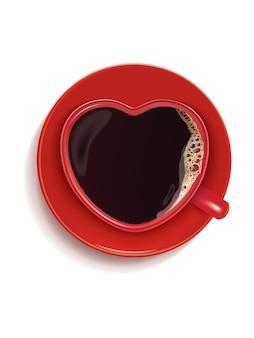 Kopje koffie in de vorm van een hart