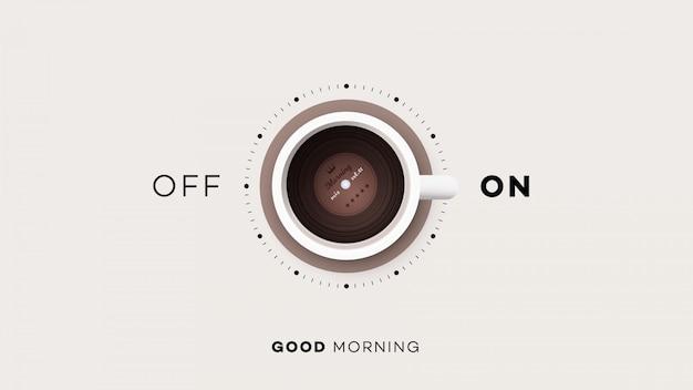 Kopje koffie met aan en uit