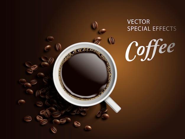 Kopje koffie met bonen elementen, geïsoleerde bruine achtergrond