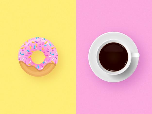 Kopje koffie met donut