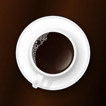 Kopje koffie met schuim op tafel. vector illustratie