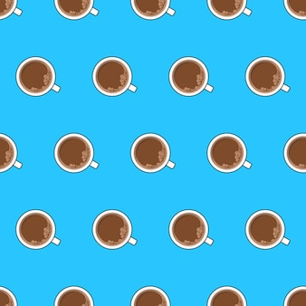 Kopje koffie naadloos patroon op een blauwe achtergrond. koffie bovenaanzicht thema vectorillustratie