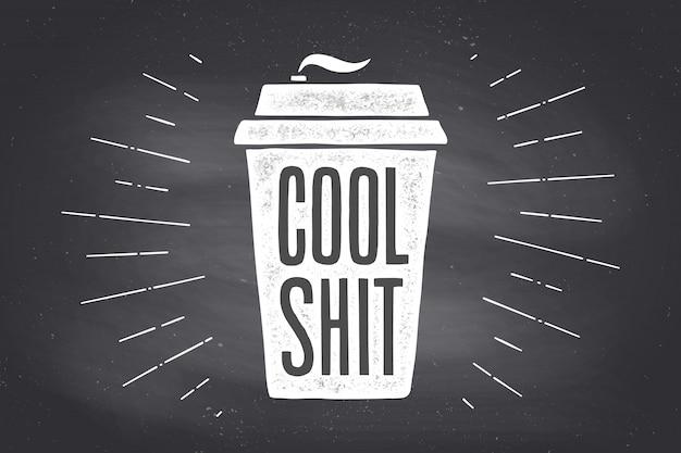 Kopje koffie. poster koffiekopje met hand getrokken belettering