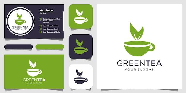 Kopje thee met bladelement logo en visitekaartje ontwerp theehuis vector ontwerp