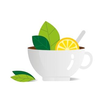 Kopje thee met citroen vector vlakke afbeelding