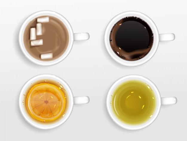 Kopjes koffie, thee en cacao bovenaanzicht