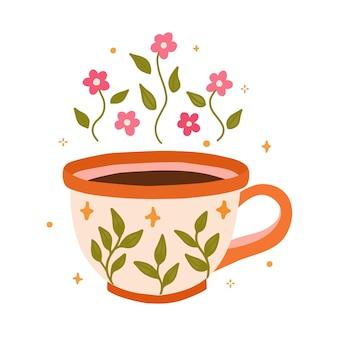 Kopjes thee of mok koffie met bloemmotief en verschillende bloemen planten ornamenten kunst print elementen illustratie