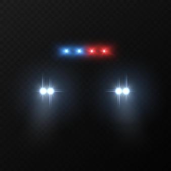 Koplampen van politieauto's