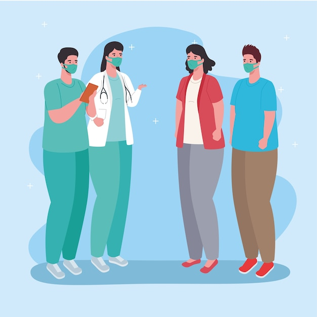 Koppel artsen en patiënten die medisch masker dragen tegen covid 19 illustratie