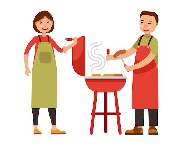 Koppel barbecue-feest in vlakke stijl