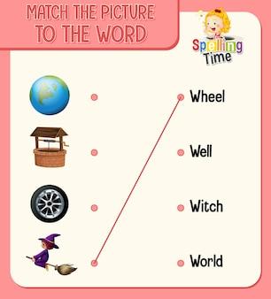 Koppel de afbeelding aan het woord-werkblad voor kinderen