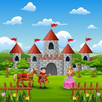 Koppel een prinses en prins voor het kasteel