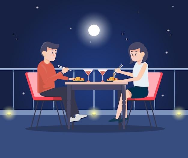 Koppel in een romantisch diner