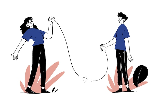 Koppel jongen en meisje niet verbonden stringgesprek