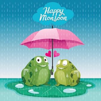 Koppel kikkers onder paraplu samen in de regen, ze gelukkig moesson