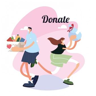 Koppel levering van dozen met voedsel