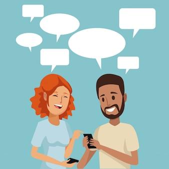 Koppel mensen sociale netwerkcommunicatie met dialoogvenster