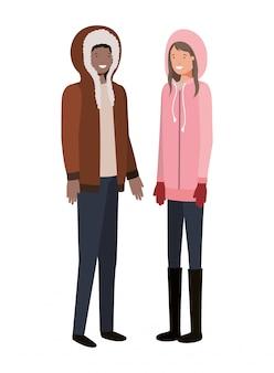 Koppel met avatar van de winterkleren karakter