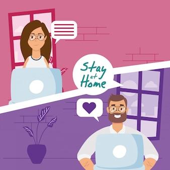 Koppel met behulp van laptops om te communiceren en thuis te blijven